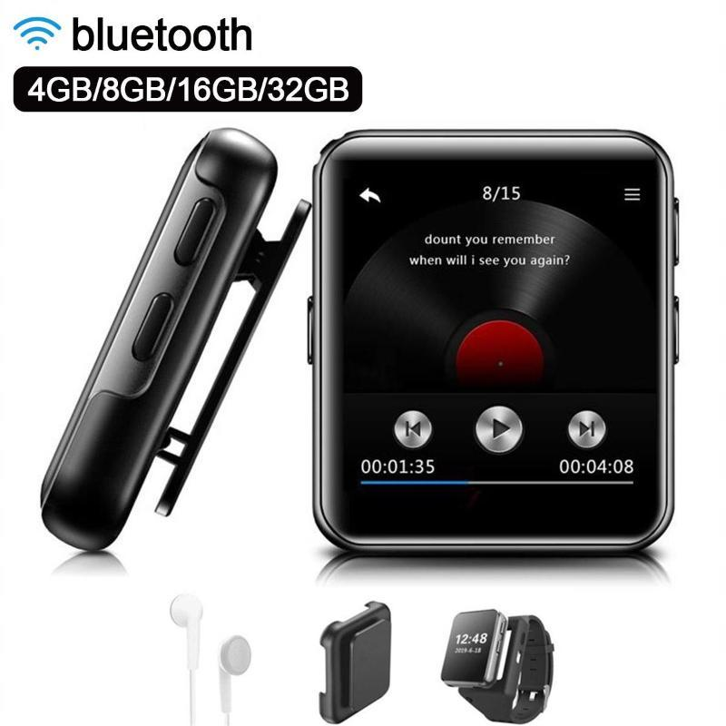 Mini clipe MP3 Player Bluetooth com 1.54 polegadas Touch Screen Portable MP3 Música Player HiFi Metal Audio com FM para corrida