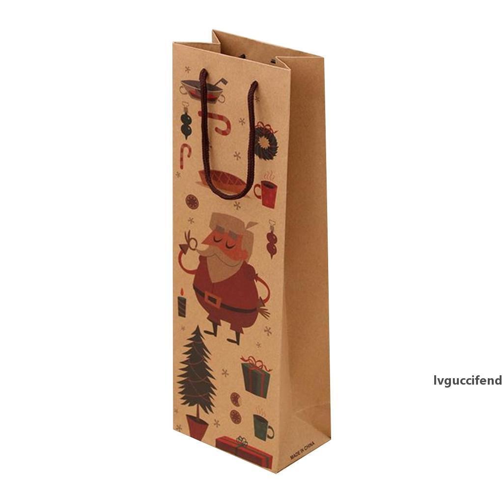 Weihnachtsgeschenk Kraft Papiertüte Weinflasche Tasche Verpackung Dekorationen für Haus New Year Geschenke