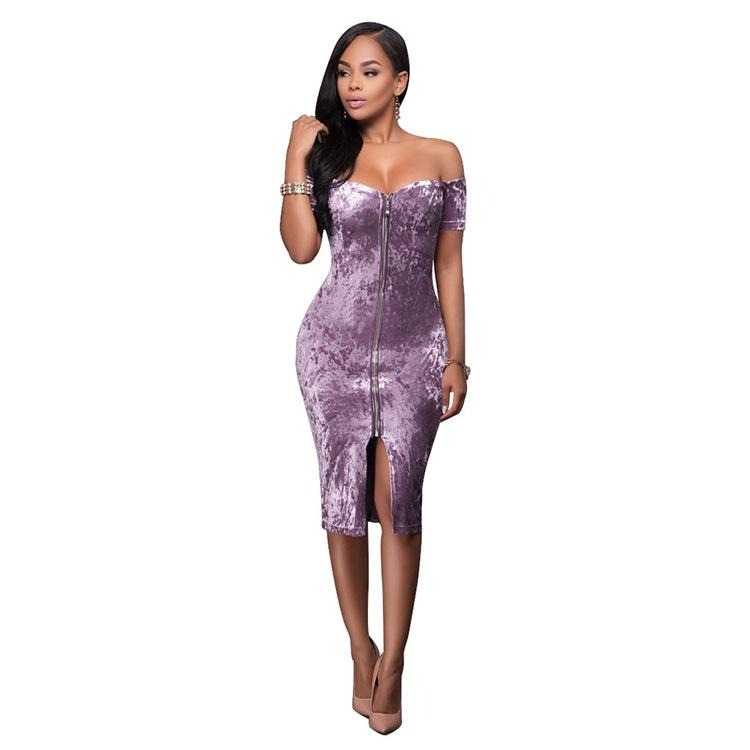 Meilleure vente d'or européen et américain Diamond Velvet Colle-cou robe bandage Jupe NightClub Jupe T200801