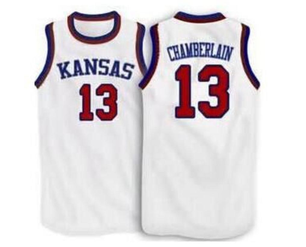Nadir ÖZEL Erkekler Gençlik Kadın Vintage # 13 Wilt Chamberlain Kansas Jayhawks Ku Basketbol Jersey Size S-6XL veya Özel Herhangi Bir Ad veya Numarası Jersey