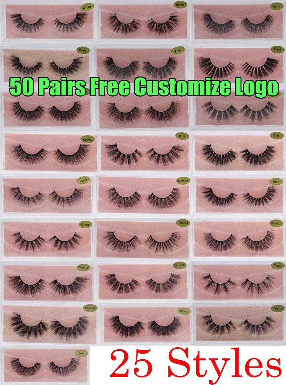 3D Mink Wimpern Faux Natürliche falsche Wimpern 3D Mink Wimpern Weiche Make-up Erweiterung Make-up Gefälschte Wimpern 3d Wimpern Freie Anpassen Logo