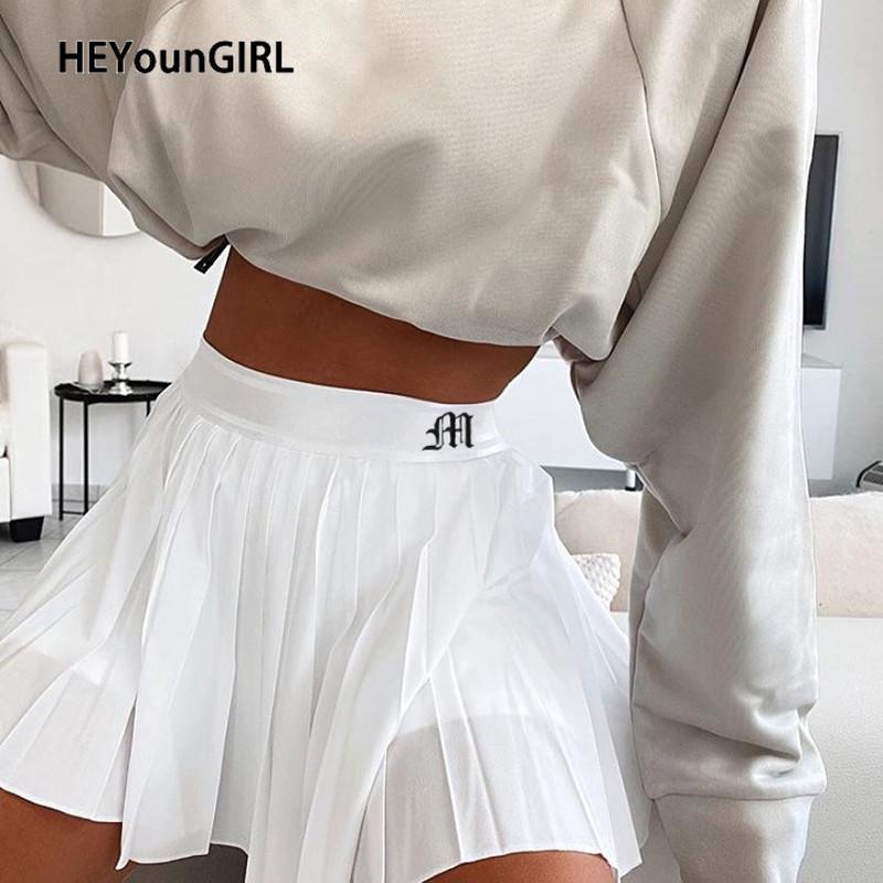 Heyoungirl Casual White Mini-Plissee Röcke Shorts Brief Druck Hoher Taille-Kurzer Rock Koreaner adrette Stil Sommertanz 2020 F1117