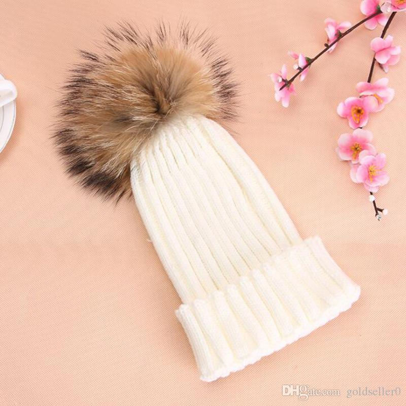 2020 Herbstwolle Gestrickte Mützen Hut Für Frauen Faux Fuzzy Pelz Pom Ball Pompom Skullies Skihut Slouchy Caps Bonnet Streetwear