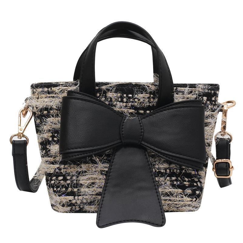 Kleine süße Plüsch Bowknot Handtasche Frauen 2020 Tote Elegante moderne städtische Winter Schulter Neue Tasche Weibliche Wilde Eimer Filz Messenger gkmrj