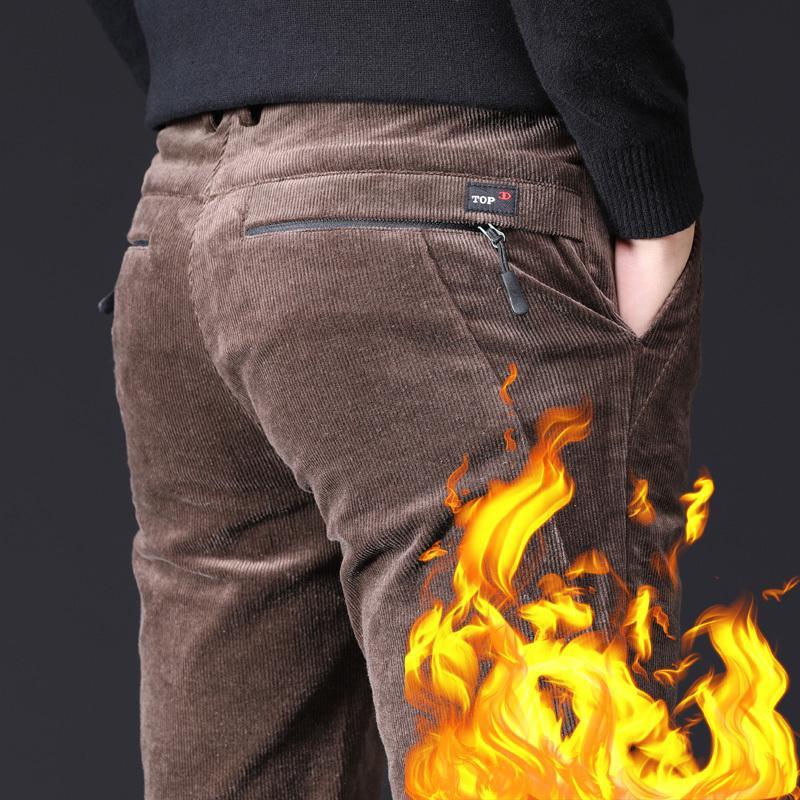 Мужские зимние брюки толстые хлопковые флис теплые молнии карманные черные коричневые брюки мужские прямые брюки стрейд повседневные кормуры штаны 201110