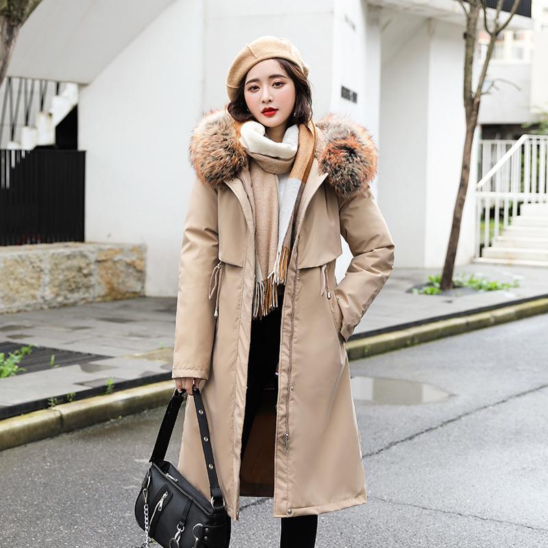 2020 Damen Winter Daunenmantel Slim Mit Kapuze Lange Jacke Frauen mit Pelzkragen Plus Größe Koreanischer Stil Festköpfige Mantel Weiblich
