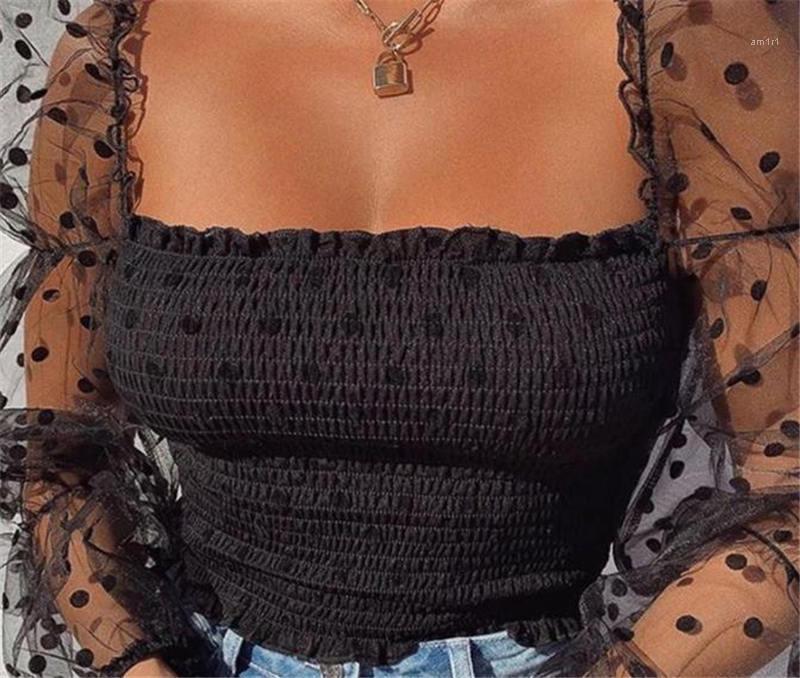 ساحة الرقبة الشاش كم المرأة قمم عارضة الصيف جديد نمط المرأة ملابس البولكا نقطة المرأة مصمم بلايز الأزياء