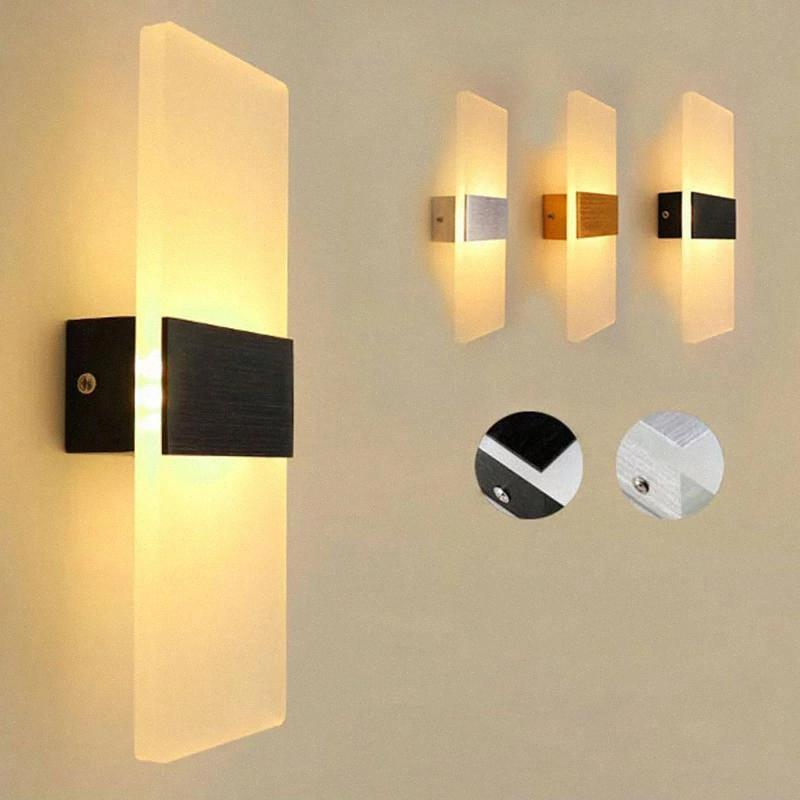 Modern LED Wall Lamp Bedroom Bedside Stairs Corridor Acrylic Simple Wall light Decorative Night Bedside light AC100-240V #R998