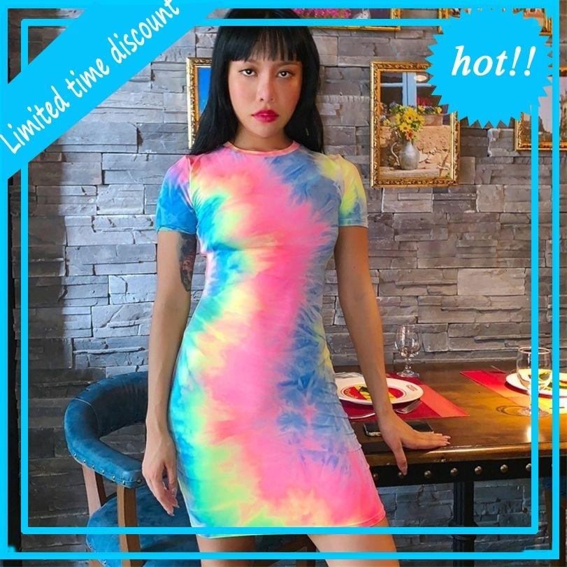 Donne Tie Dye Mini Bodycon Dresses