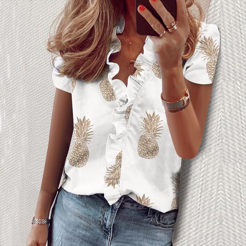 Sfit Kadın Gömlek Papatya Bluz Yaz Kısa Kollu Bluz Gömlek Zarif Moda Fırfır V Boyun Bayan Tops ve Tunik