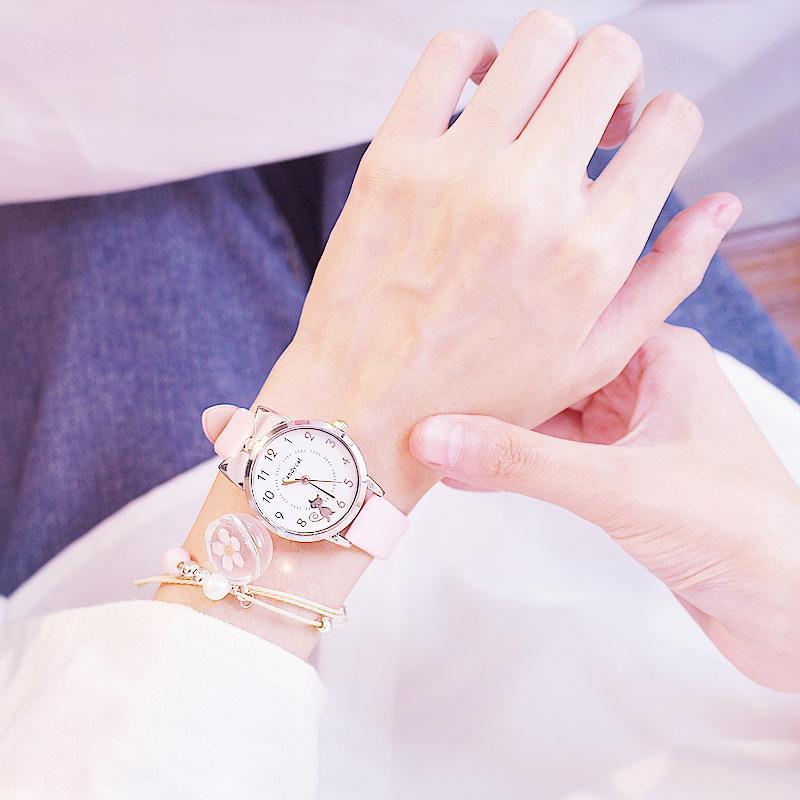 Miss Black Cat Quartz Watch Women Fashion Casual Cuero Correa Relojes Muchachas Lindo Cat Dial Forma Rosa Reloj de pulsera