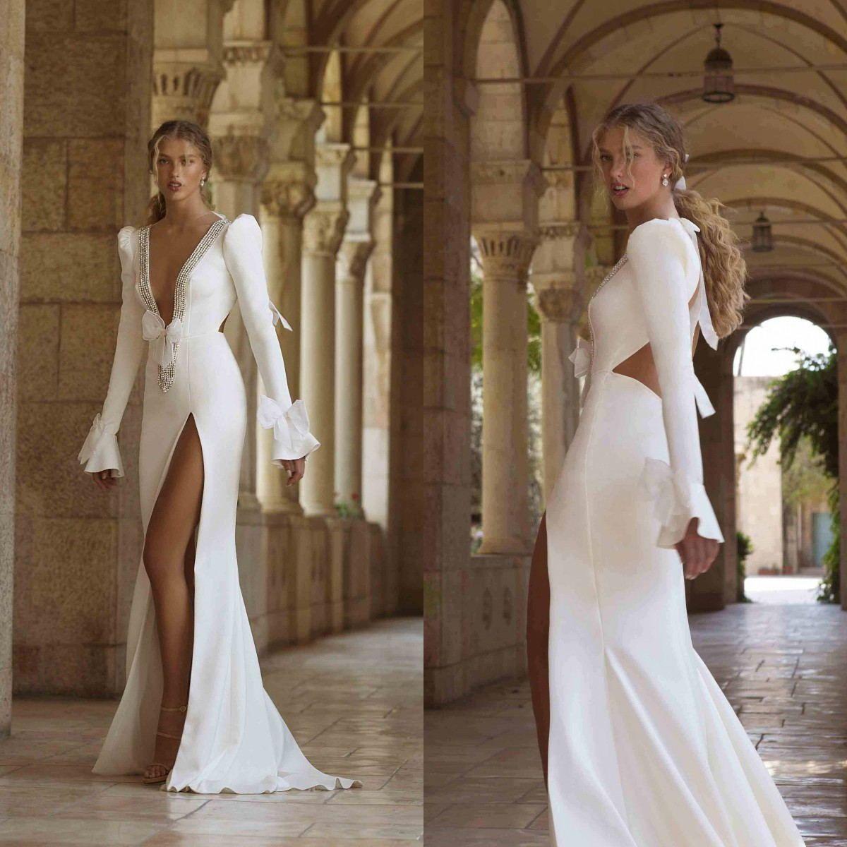 Elegante satén vestido de boda sexy profundo cuello sirena manga larga vestido nupcial lado lado split vestidos de novia