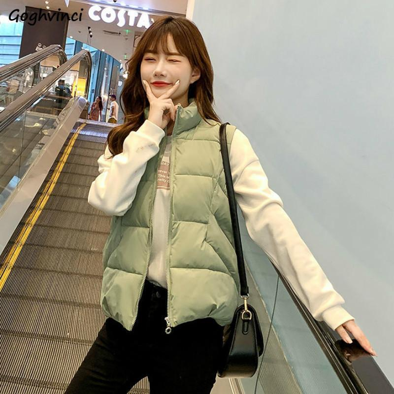Women Vests Plus Size 3XL Solid Leisure Korean Style Stand Collar Zipper Waistcoats Female Elegant Bread Coat Outwear Winter New