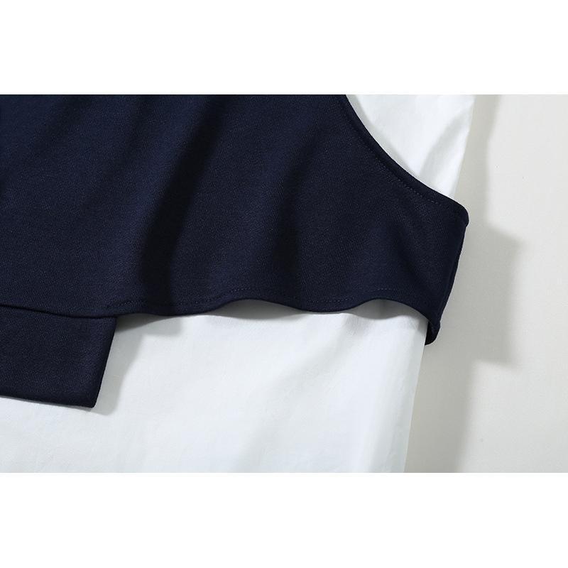 [EAM] Свободные темно-синие полосатые нерегулярные толстовки Новые круглые шеи с длинным рукавом женщин большой размер мода весна осень 1Z857 2013