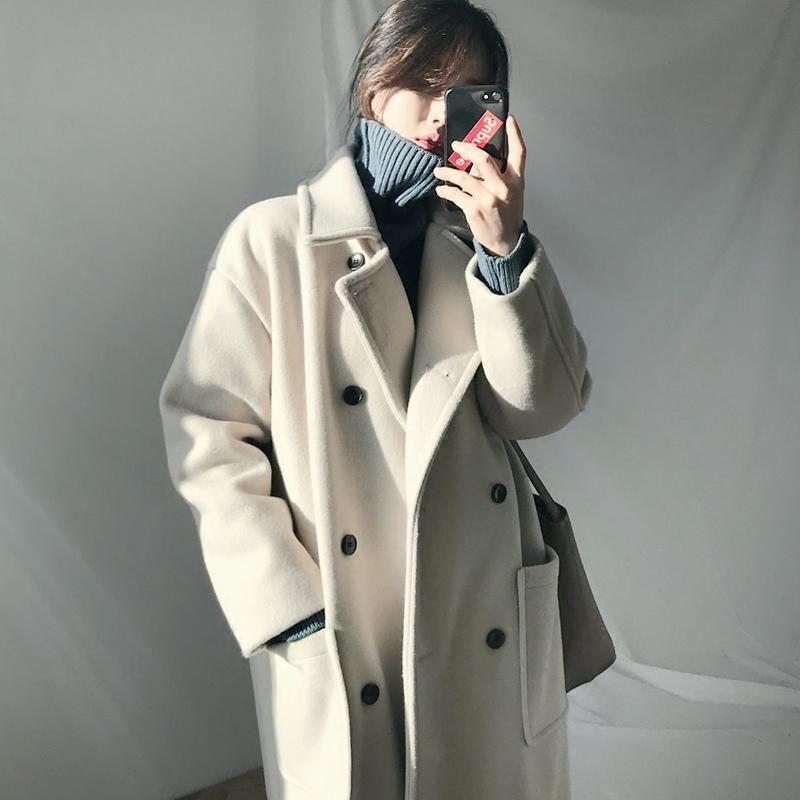 Lungo cappotto di lana classico donne addensarsi nero misto coreano moda cappotto di lana trincea elegante veste longue donne femme giacche da donna de50mn
