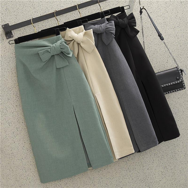 Летняя осень женский тонкий офис леди юбка дизайнер женская элегантная высокая талия бабочка мода лук юбки для женщин Q1229
