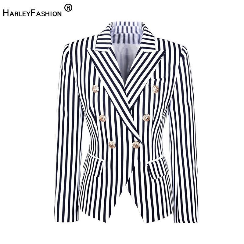 HarleyFashion Europa und Amerika-Straße-Wear Fashion Striped Printed Top Jacke Zwei Farbe dünne Blazer C1118