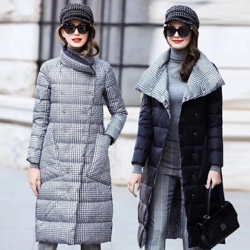 Veste de canard DOWN Femmes hiver long épais manteau à carreaux double face Femme plus Taille Taille Réchauffer Parka pour femmes Slim Vêtements 201124