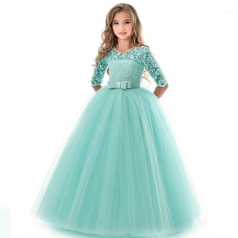 Nouvelle robe de dentelle princesse robe de broderie de fleurs pour filles Vintage Enfants Robes pour une gaine de billes de fête de mariage 14T1