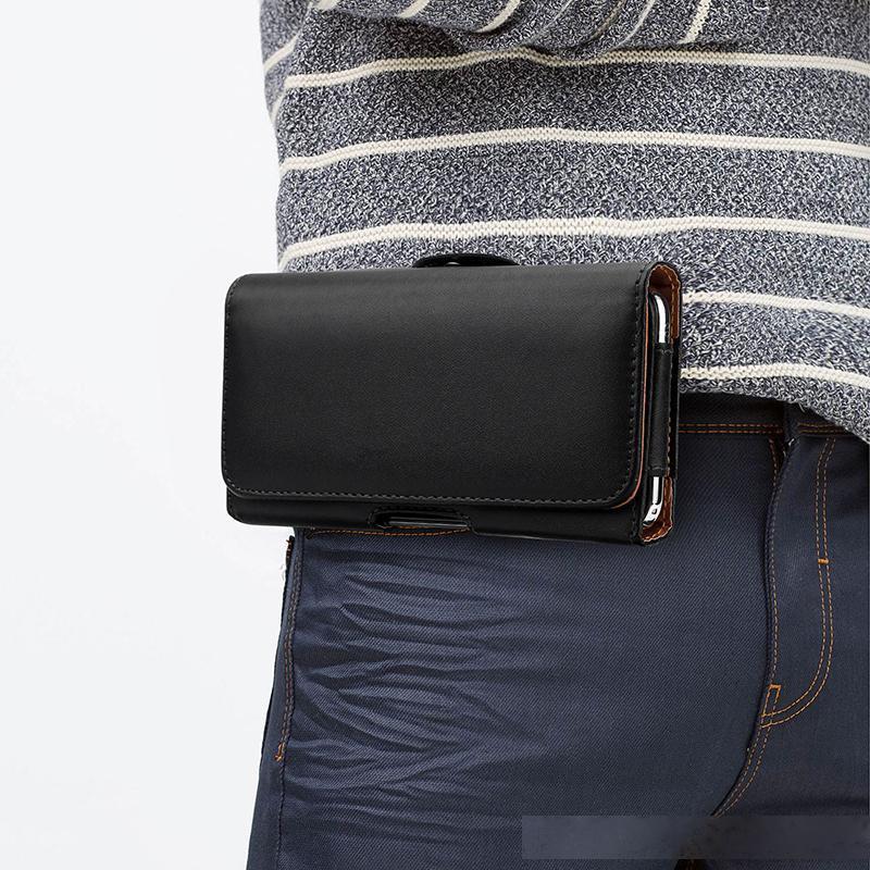 Clip da cintura universale PU in pelle portato a vita flip custodia per 3,5-6.3 pollici cellulare telefono iPhone 11 XR XS Max Samsung Nota 10 S10 Huawei LG Xiaomi