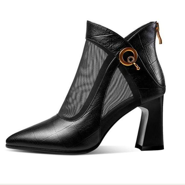 Botas de tacón alto para mujer con cremallera sexy negra con un cordón cuadrado mujer de tacón corto Zapatos 79QW