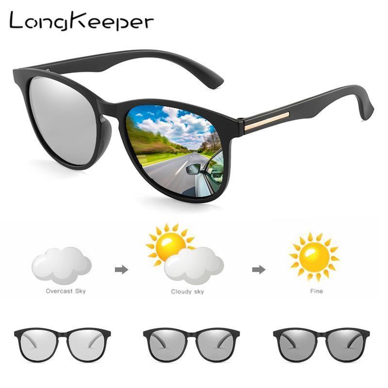 Langlehrer Polarisierte photochromische Sonnenbrille Männer Chameloen Square Sport Fahrbrillen für Frauen ändern Farben Gafas UV400