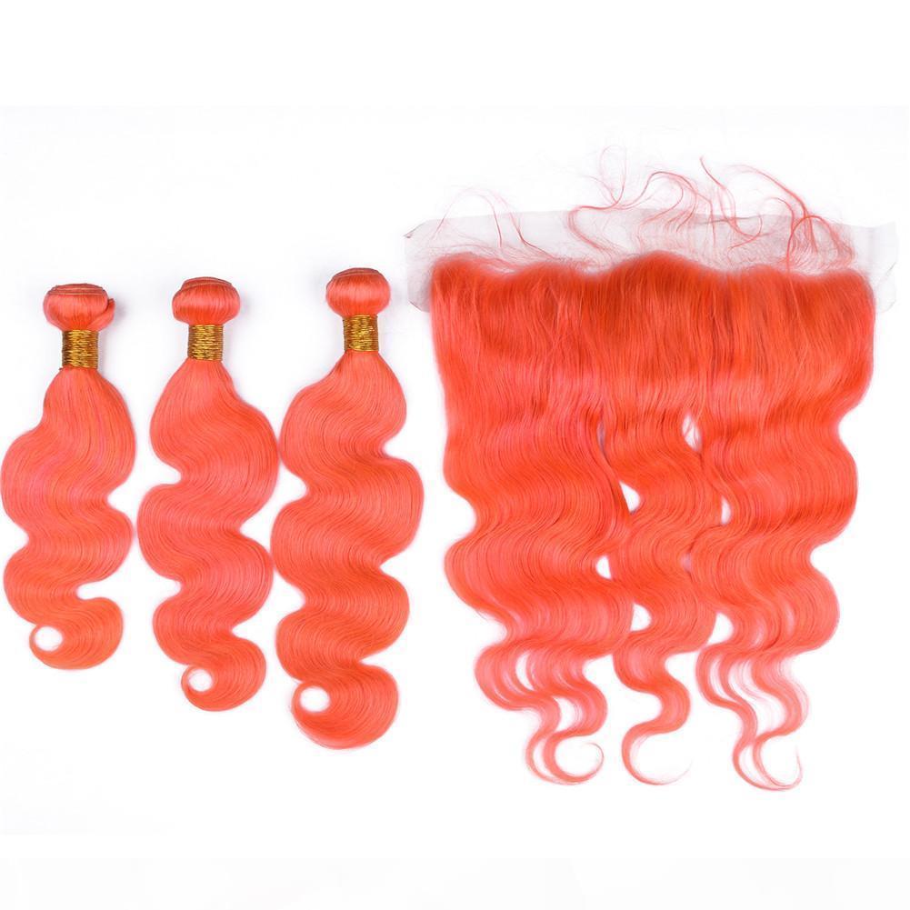 Renkli Turuncu Bakire Hint İnsan Saç Vücut Dalga Atkı Uzantıları Frontal Saf Turuncu 13x4 ile Dantel Frontal Kapatma Dişi Demetleri ile
