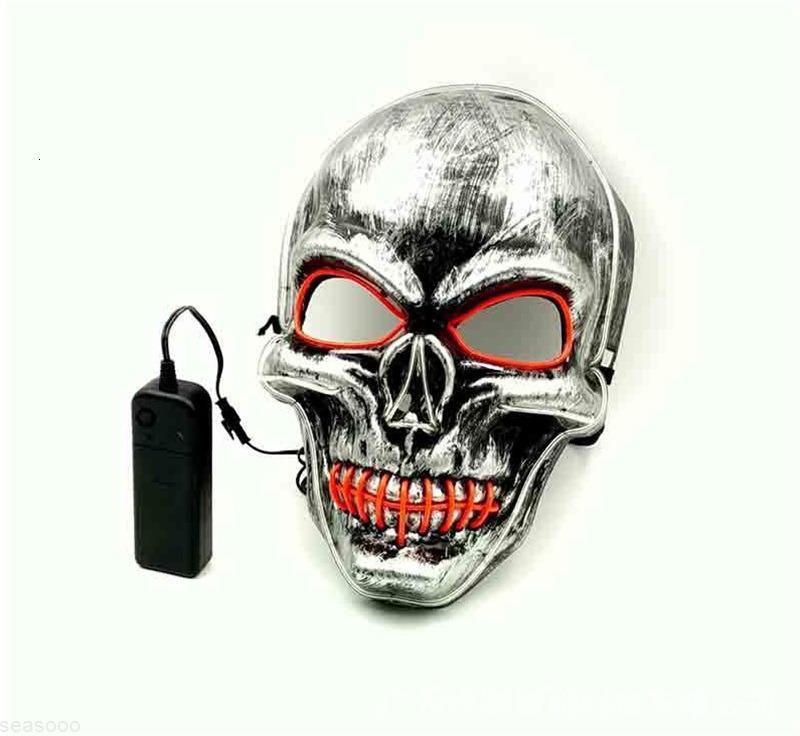Visage LED LED Crâne Halloween Purge Masque à la lèvre Couture froide Éclairage Décoration Partie de danse El Masquerade Masques pour adultes Hommes 18TC WW