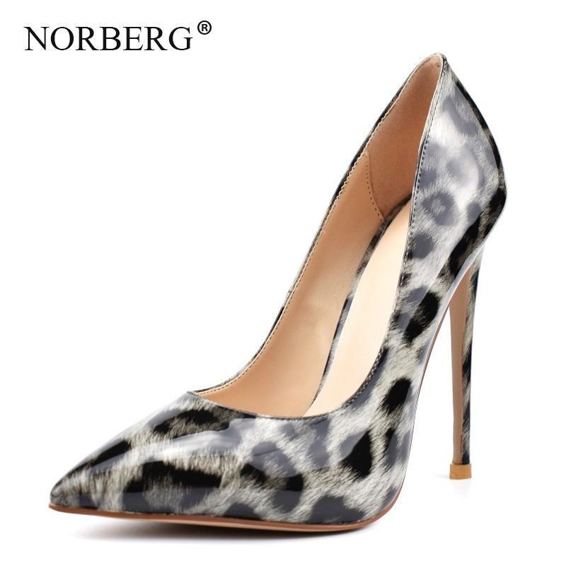 NORBERG Yeni Moda Leopar Ayakkabı Bayanlar Tek Ayakkabı Ofis Çalışması Kadınlar Yüksek Topuklu Leopar Baskı Kadın