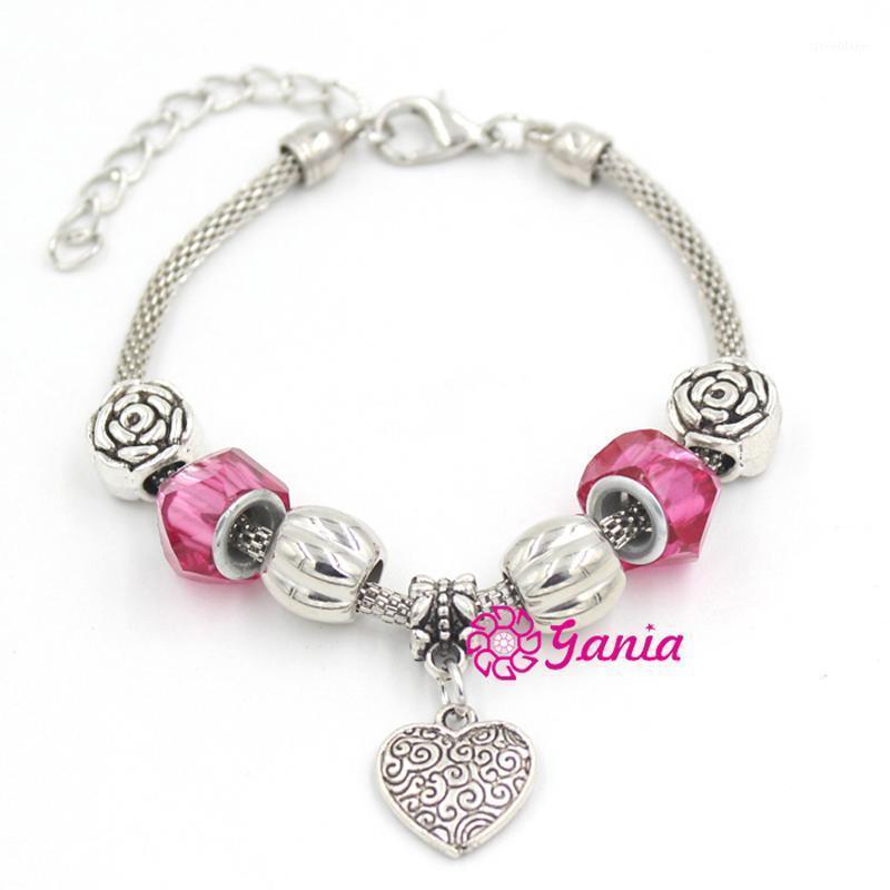 10 unids / lote Wholesale Mujeres Pulsera Rurope Rose Bead Hearm Charm Bracelet Mujer para el regalo del día de San Valentín Pulsera Bijoux1