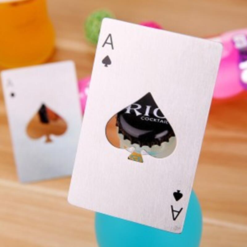 Abridor de botellas de acero inoxidable, barra de cocción de barras de póquer de herramientas de espadas, mini abrelatas de tarjetas de crédito DHD3428