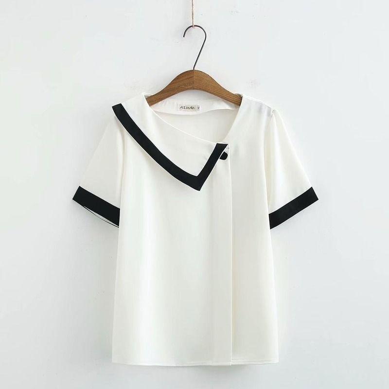Cuello Más Tamaño asimétrico Mujer de gasa suelta Tshirts 2020 NUEVO SOMBRERO CASUAL DE LADAS T SHIRTS T-SHIRTS ZF7D