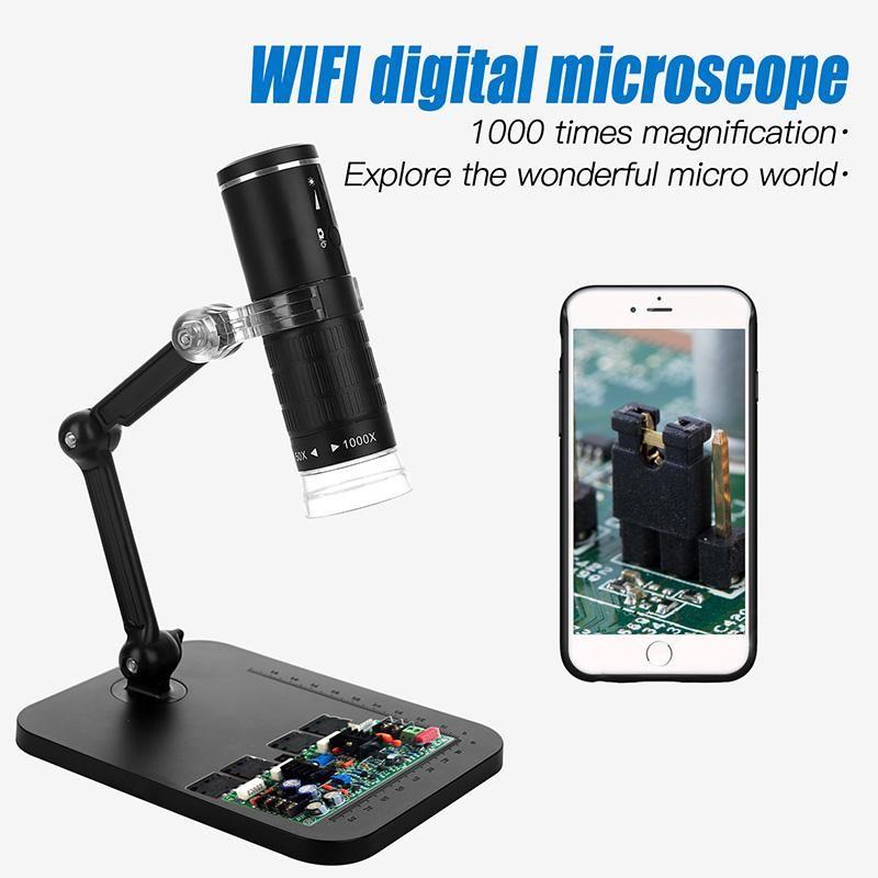 F210 WiFi Microscope Fotocamera HD 1080P 2G + Lente IR Lens 8 Lampadina LED regolabile Fonte 50-1000 volte Magnifiche JPEG MP4 Formato