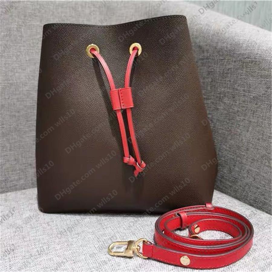 حقائب النساء حقائب الكتف نوي دلو حقيبة جلدية المرأة حقائب عالية الجودة زهرة الطباعة حقيبة crossbody محفظة رمز التسلسل M44022 LB131