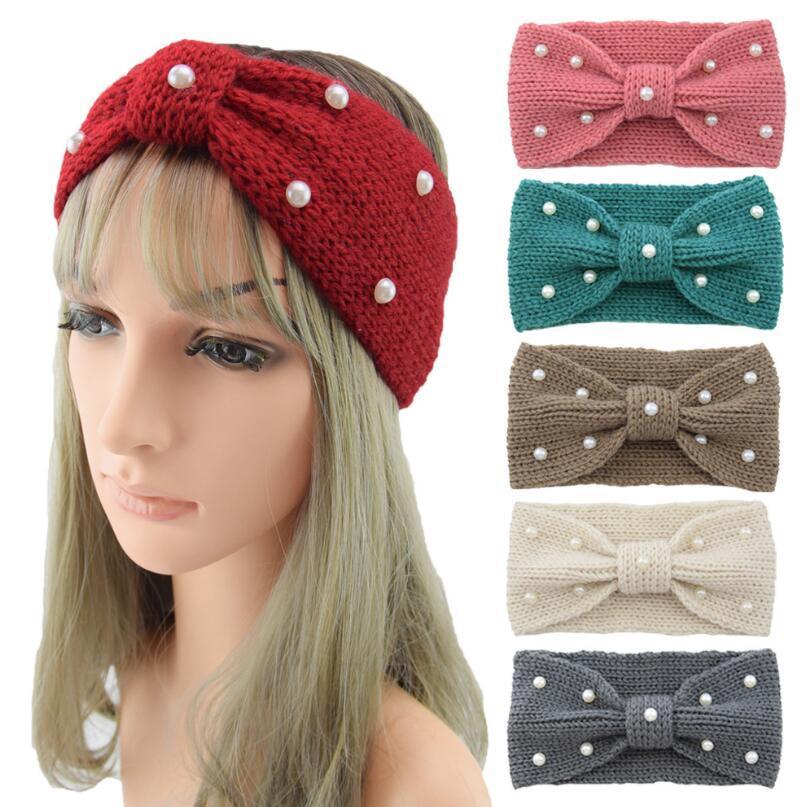 Dernière 16 couleurs Lady Girls tricoté bandeau Bandes Bandes bandes de poils perles au crochet Twist Headwear Headwrap Femmes Accessoires pour cheveux
