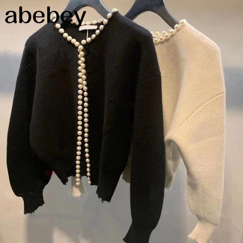 2020 neue mode koreanische jacken pearls cardigan batwing sleeve wolle stricken vintage frauen mantel hochwertige jacke aq927 q1217