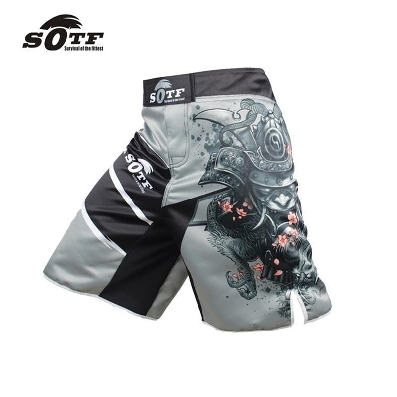 Suotf القتال المجد الأحمر والأسود الرياضة اللياقة البدنية تنفس النمر الملاكمة السراويل التايلاندية الملابس الملاكمة قصيرة MMA 201216