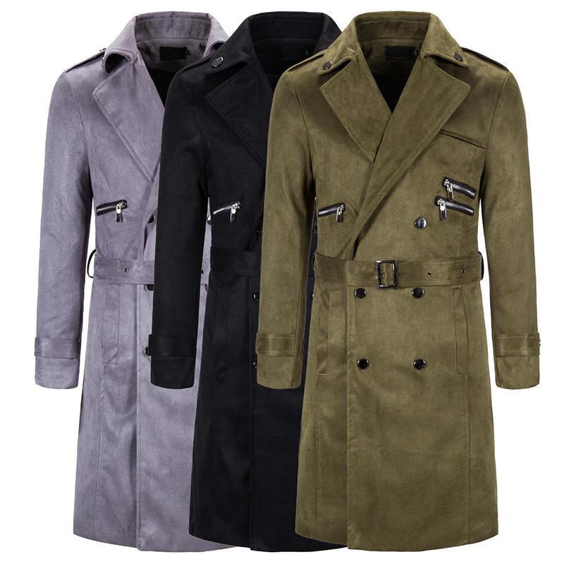 Erkek Rahat Uzun Trençkot Kemerli Yün Ceket Büyüleyici Vintage İngiliz Tarzı Siyah Gri Palto Artı Boyutu Yaka Kabanlar 5XL