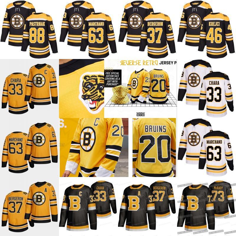 Boston Bruins David Pastrňák 2021 Retro inverse Charlie Coyle Ondrej Kase Brad Marchand Krejci Tuukka Rask Patrice Chara McAvoy Maillots