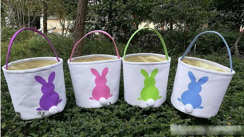 2020 Pâques de la lapin de Pâques Panier Rond Toile Cadeau Sac Dessin animé Joli Bunny Tails Bucket Mettez des godets de palet de bricolage Juste de Pâques