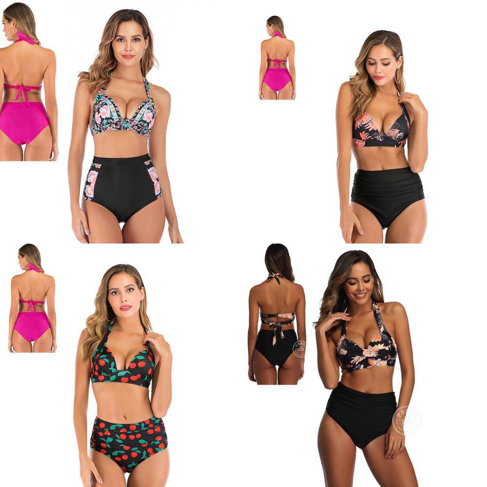 Tyburn Nouvelle maillot de bain à taille haute 2020 Bikinis Femmes Bandage Bandage Push Up Maillots de bain Femme Baignoïdge Combinaison Plage Porter Biquini J1208