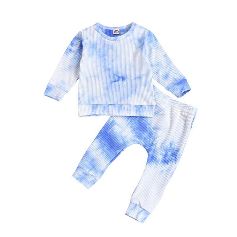 Niño bebé otoño otoño ropa 2021 niño niña manga larga tripulación corbata corbata tapa tops + pantalones 2pcs trajes niño niña niño conjunto