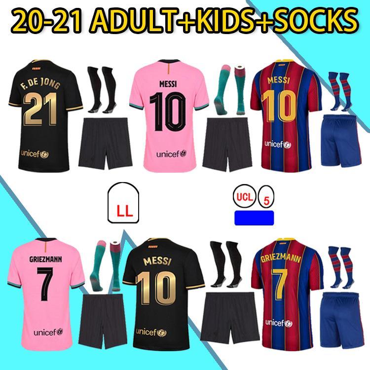 2020 Jersey Jersey Griezmann F. de Jong Coutinho Braithwaite TrinCao Pedri Dest 20 21 Kit de crianças adultos + meias camisa de futebol de alta qualidade