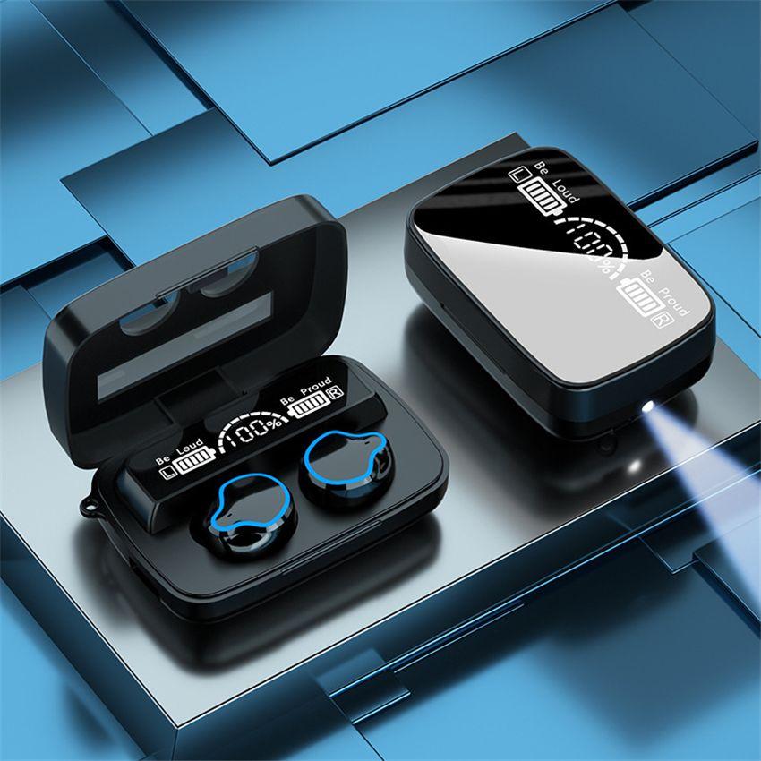Crânio Design M9 TWS LED Display Gêmeos Sem Fio Bluetooth 5.1 Fone de Ouvido M18 M16 Mini Fone de Ouvido Estéreo Esporte Earbuds Touch Key Headset à prova d'água