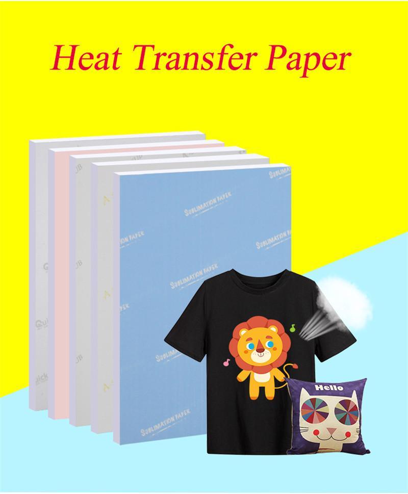 Carta a sublimazione A4 100 fogli Sublimazione Carta Trasferimento di calore per stampante a getto d'inchiostro Cancella colore Press Transfer Blanks stampabili