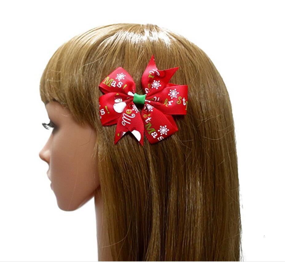 Grogren Bow Klipler Noel 3 inç Şerit Yaylar Klip Kar Ile Bebek Kız Fırıldak Tokalar Noel Saç Pin Aksesuarları
