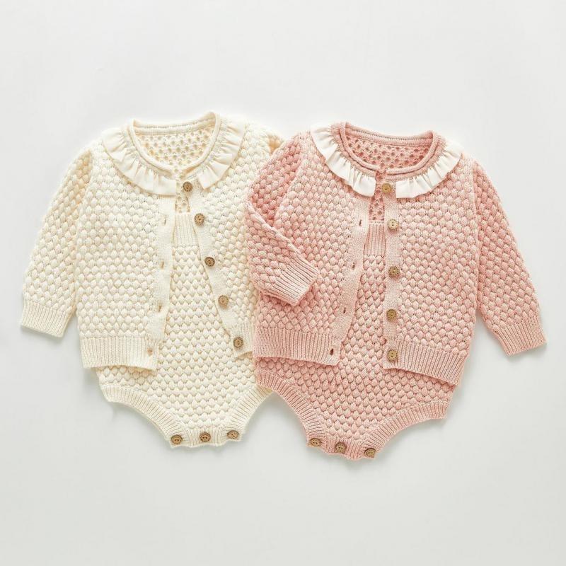 Autumn Girls Vêtements Knit Body Knit Set De Nouveau-né Cardigan Cardigan Pull Coton Coffre de bébé Jumpsuit 201120