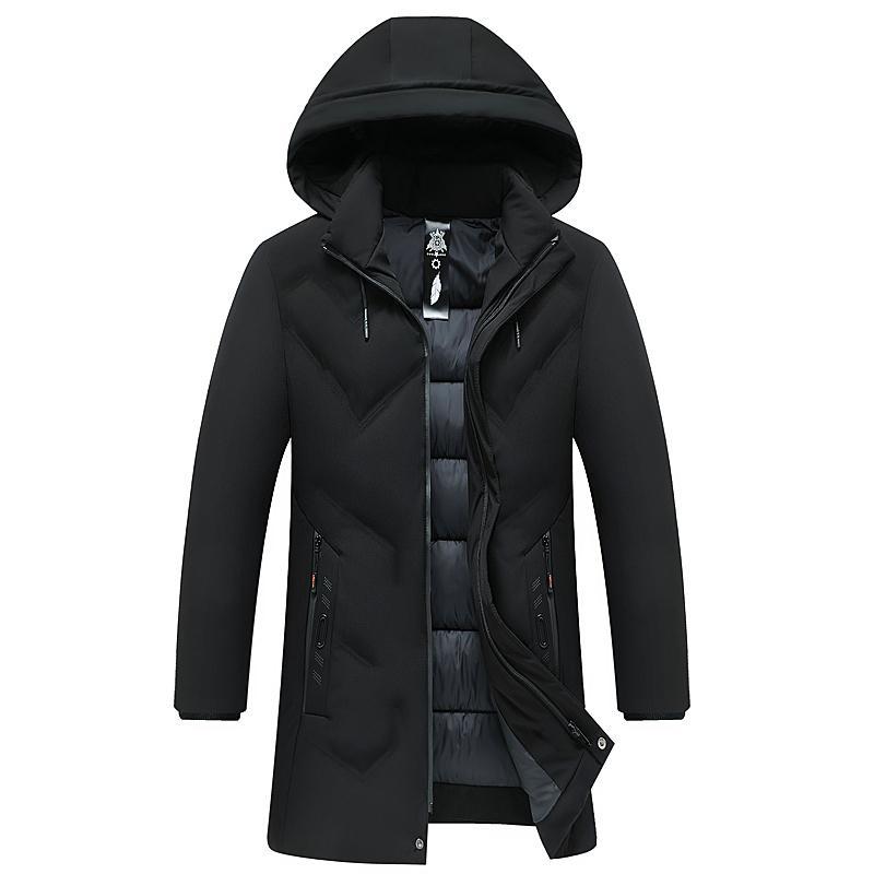 2020 nuevos hombres invierno parka media longitud 3 colores chaqueta caliente Outwear Abrigo a prueba de viento Tamaño con capucha L-4XL