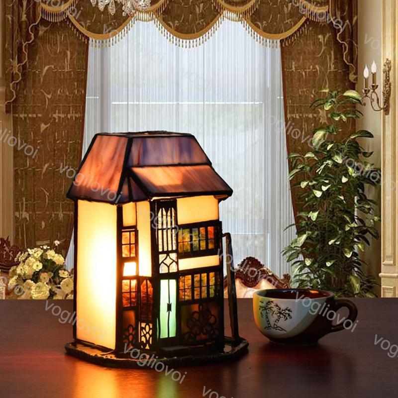 Lámparas de mesa Villa Retro europea Ambiente de vidrio Manchas Luz Ajustable 110V 220V para sala de estar Sala de estar DHL