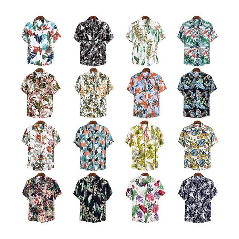 Männer Casual Hemden 2021 Mode Hawaiianer Kurzarm Sommer Hemd Button Blumenmuster Strand Urlaub Baum Druck Top 8 Farben